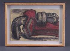 313: Lee Lozano (four works): Untitled (wrench), oil cr