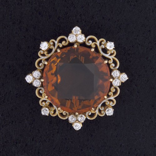 9: TIFFANY & CO. Brooch in 18k gold with a citrine and