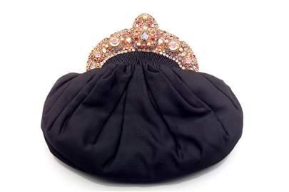 120: HOBE Gem encrusted evening bag: ruched black file
