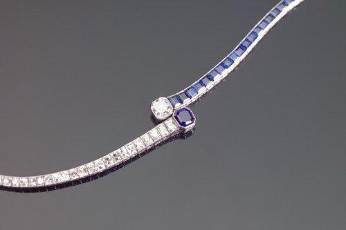 316: ART DECO Bypass-style diamond/sapphire bracelet