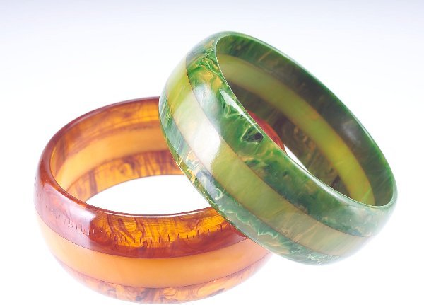 12: Two striped bakelite bangles: one tortoise shell wi