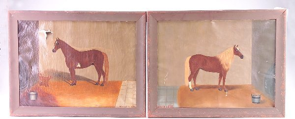 "285: Two American primitives by ""M.H.R""., dated 1870 an"