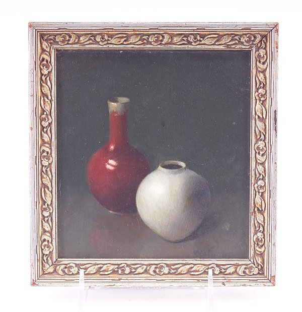 341: Walther(?) still life with two Chinese pottery ves