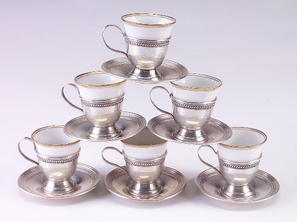 387: Six demi-tasse cups and saucers, sterling with por