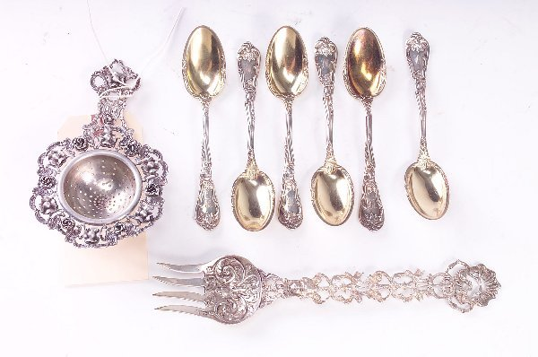 391: Six sterling spoons, monogrammed, along with 800 s