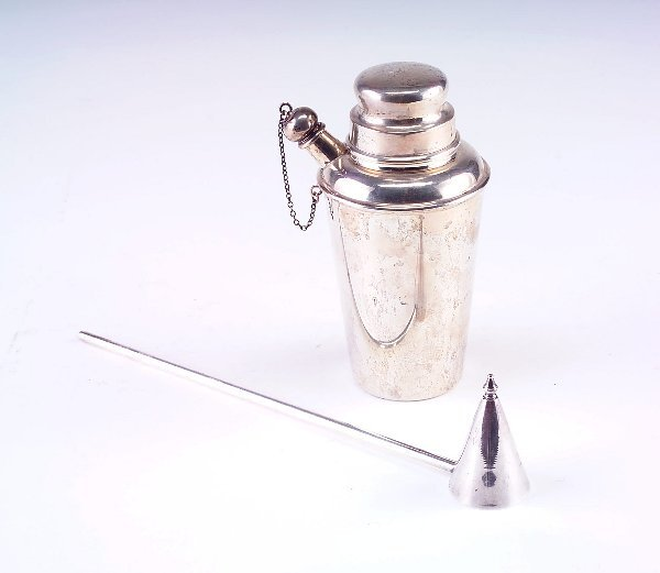 394: Sterling silver cocktail shaker and candle snuffer