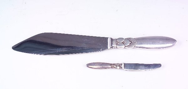 398: Georg Jensen sterling silver cake knife and butter