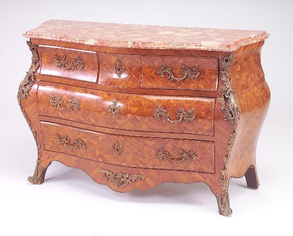 "459: Louis XIV-style ormolu with marble-top, 34"" x 52"""