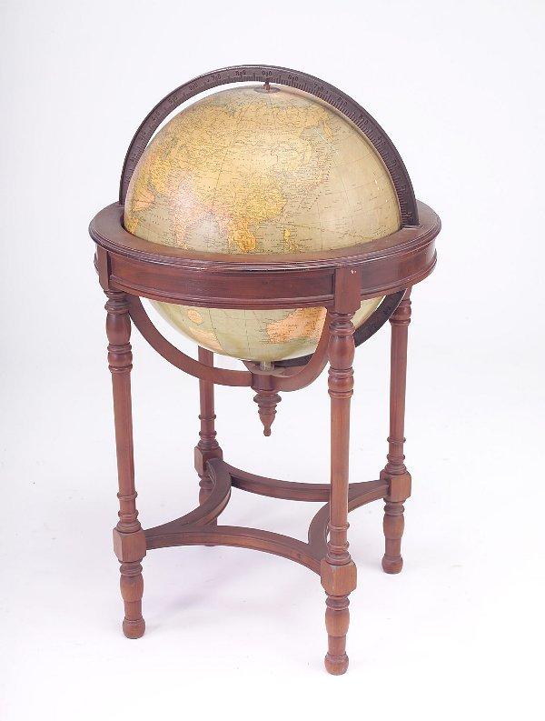 """471: Floor standing 18"""" globe in mahogany mount, c. 193"""