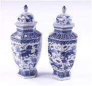 1008 Pair of Chinese blue and white ginger jars with d