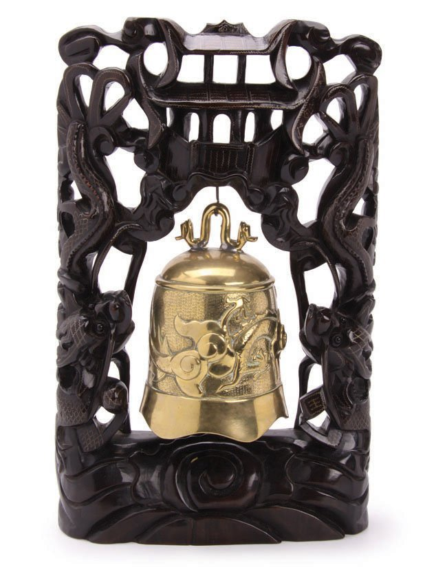 Vintage Heavily Cast Chinese Brass Bell