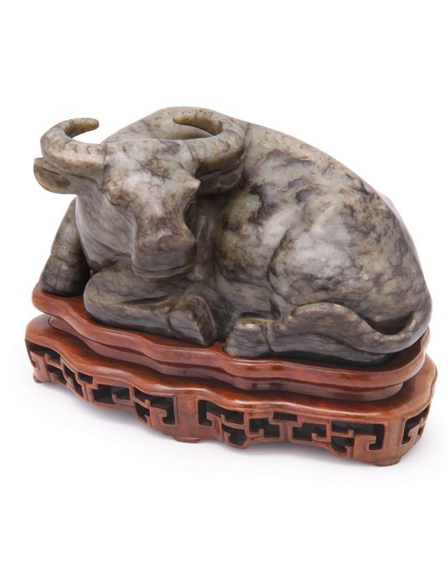 Highly Important 19th C. Jade Water Buffalo