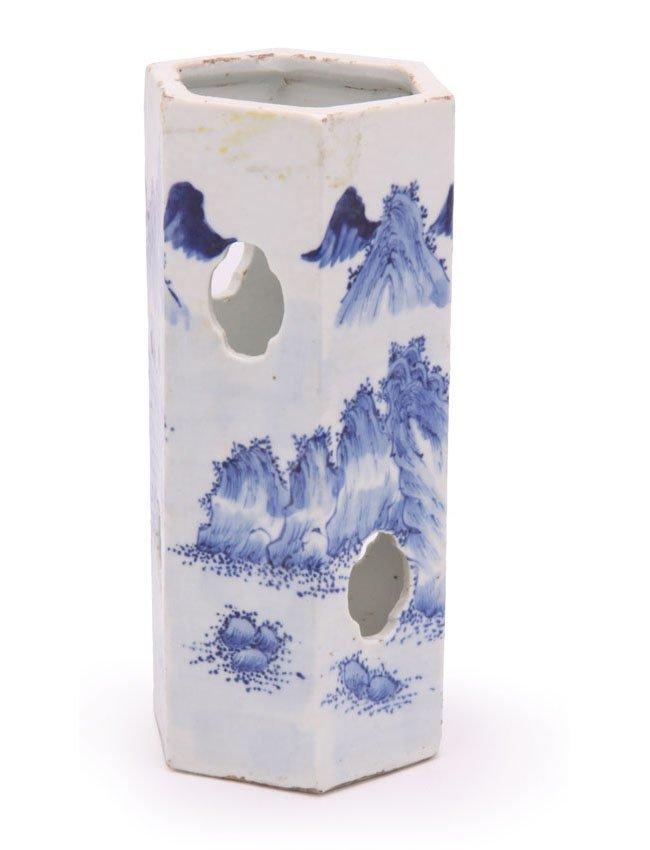 Hexagonal Blue & White Porcelain Hat Stand