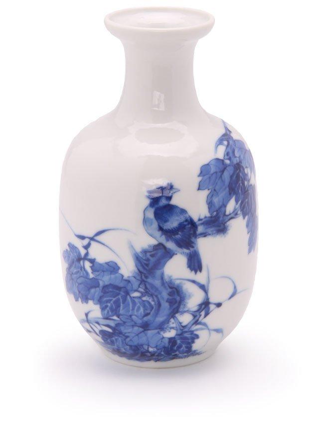 Mallet Shaped Blue & White Chinese Porcelain Vase