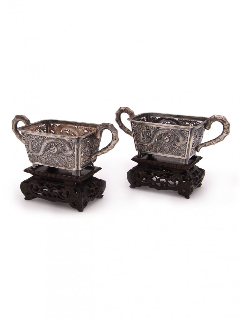 Superb Pair of Chinese Silver Two Handled Censers