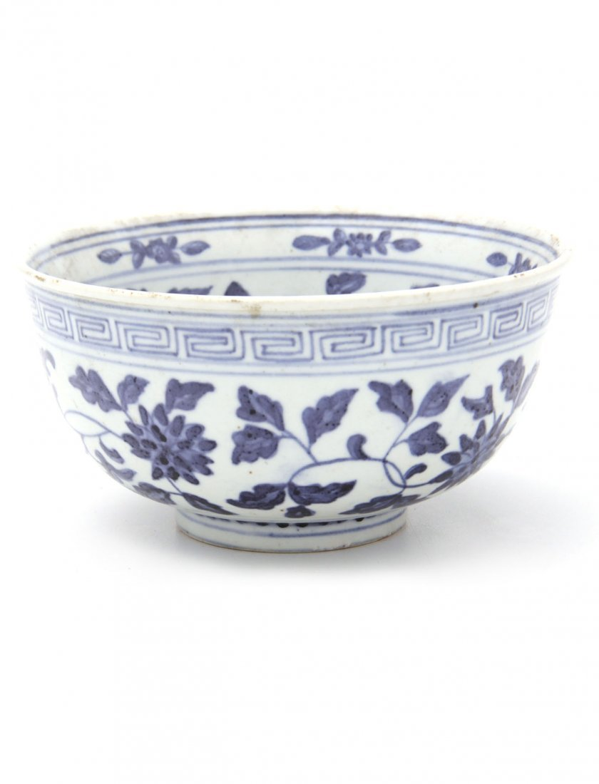 Old Chinese Blue & White Floral Bowl