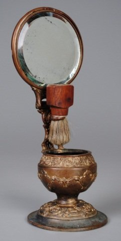 Shaving Mirror with Cup & Brush
