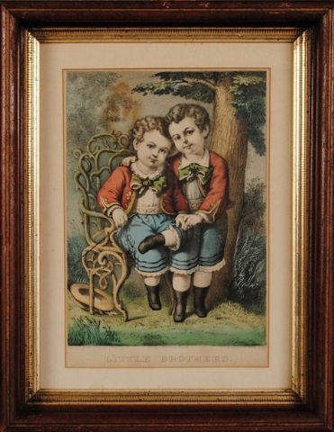 "Currier & Ives Print, ""Little Brothers"""