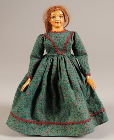 "Doll, Wooden Head & Arms, 13""h"