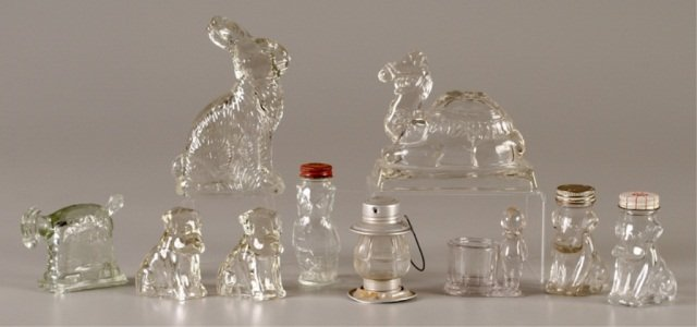 Ten Glass Candy Containers