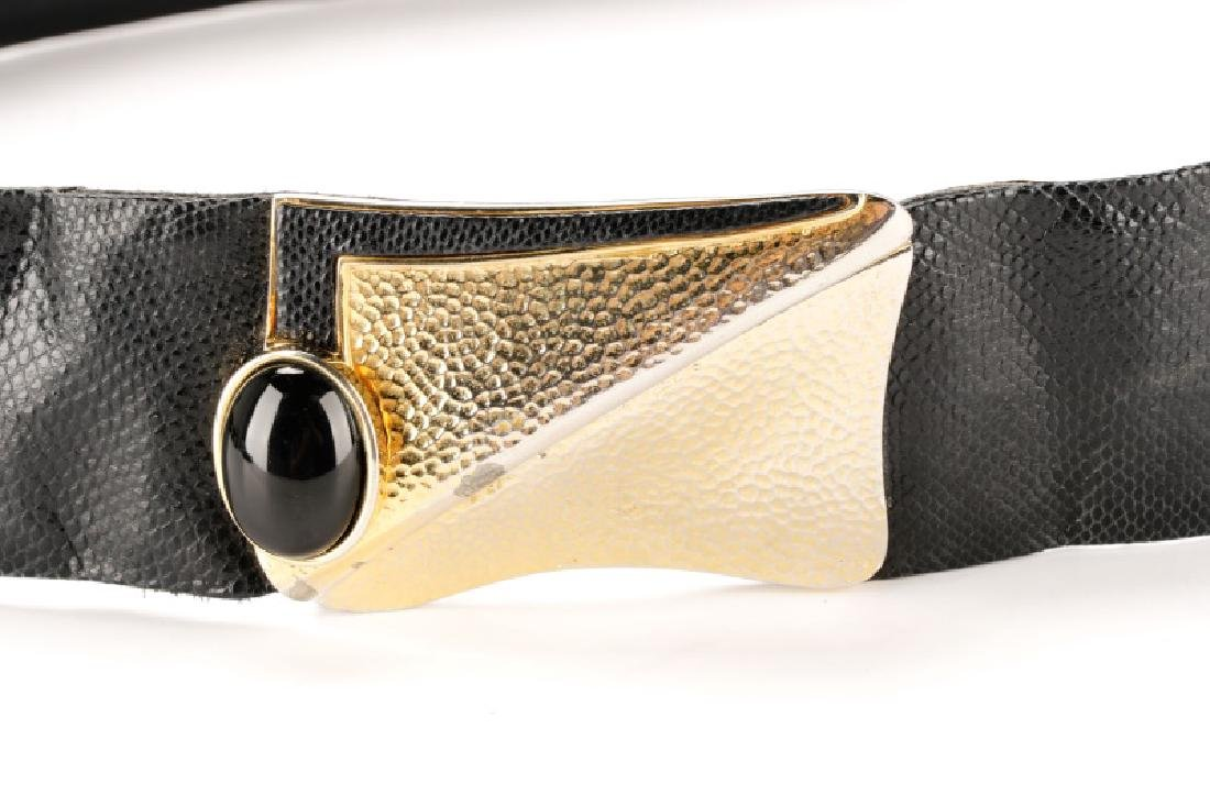 Three Black Judith Leiber Belts with Dust Bags - 5