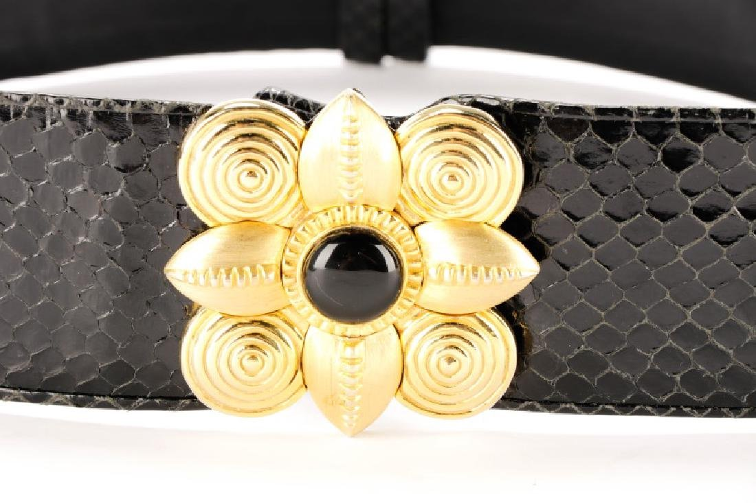 Three Black Judith Leiber Belts with Dust Bags - 8