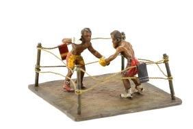 "Franz Bergmann, ""Boxers"", Cold Painted Bronze"
