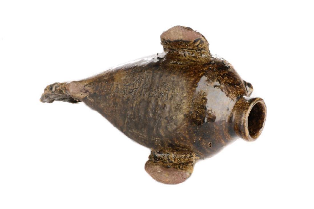 Chester Hewell Glazed Ceramic Fish Jug, Signed - 4
