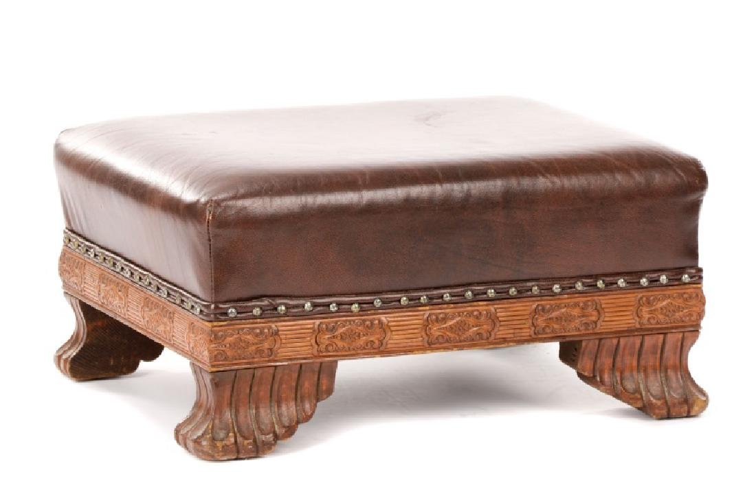 English Arts & Crafts Style Leather Footstool