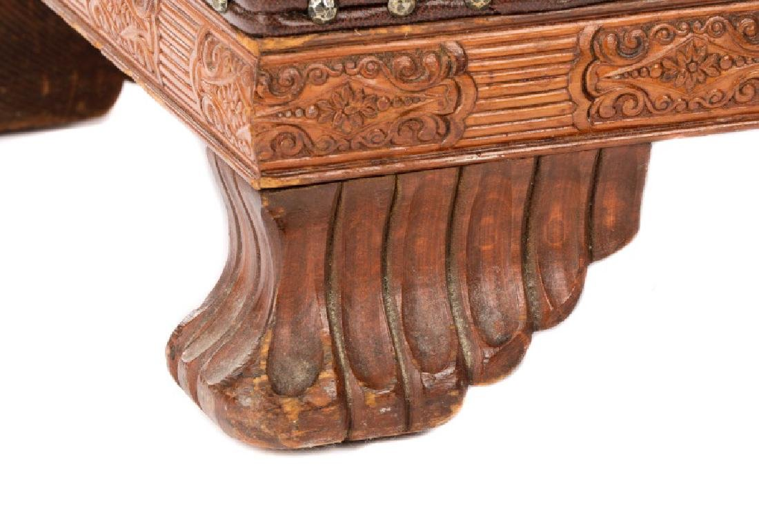 English Arts & Crafts Style Leather Footstool - 2