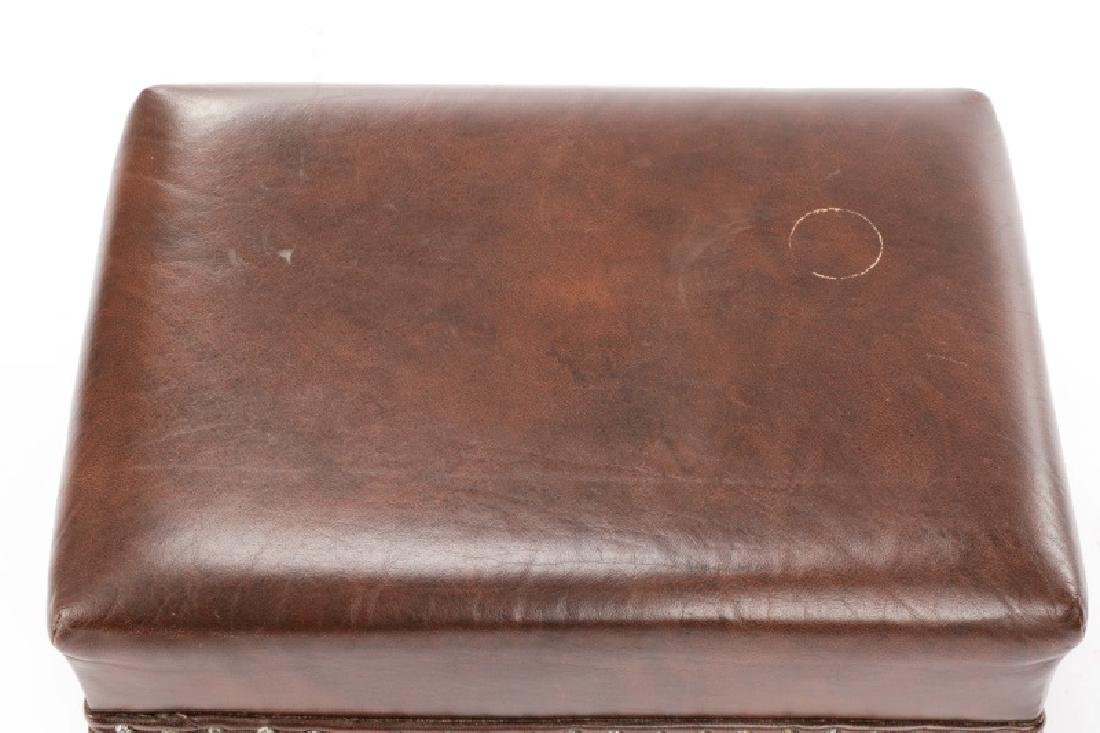 English Arts & Crafts Style Leather Footstool - 4