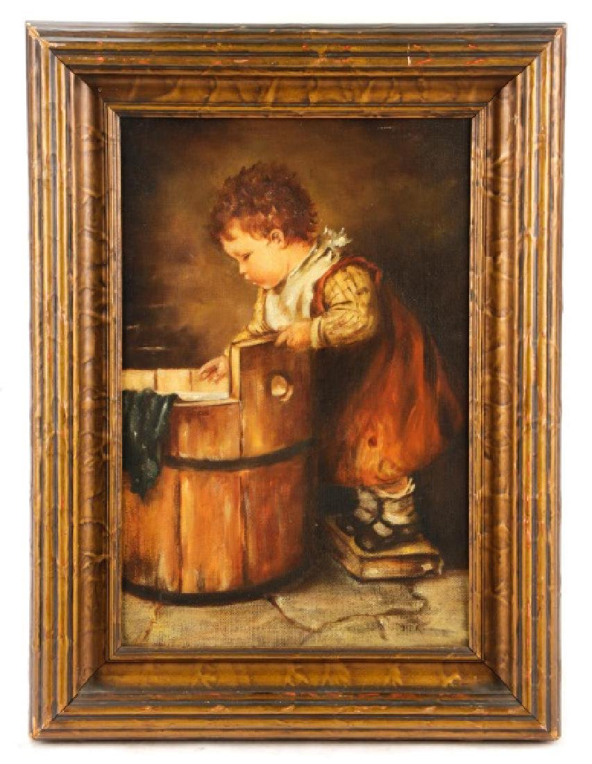 """American School, """"Toddler with Wash Pail"""", Oil"""