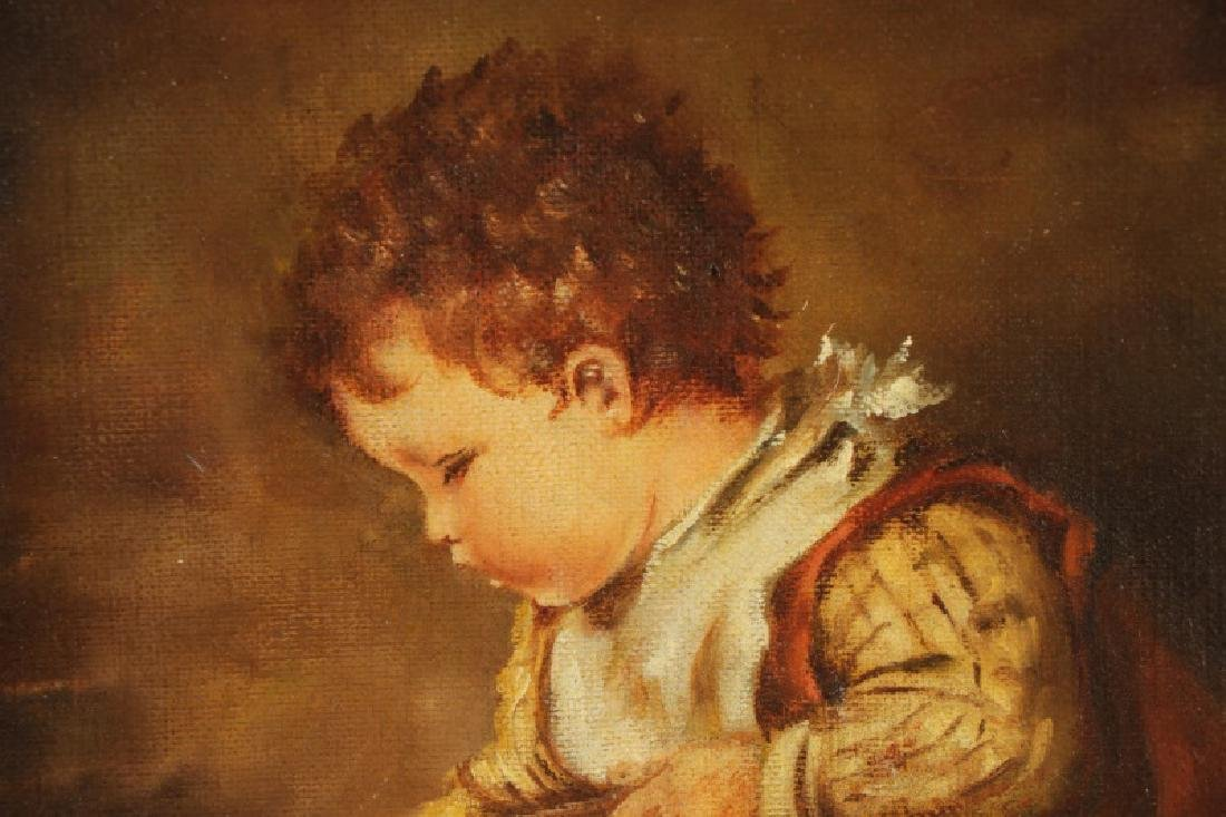 """American School, """"Toddler with Wash Pail"""", Oil - 2"""