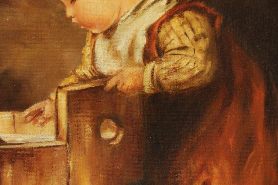 """American School, """"Toddler with Wash Pail"""", Oil - 3"""