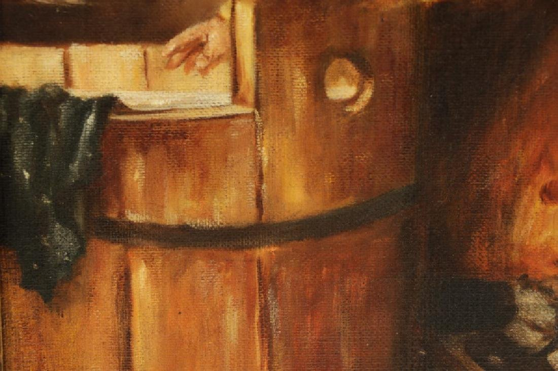 """American School, """"Toddler with Wash Pail"""", Oil - 4"""