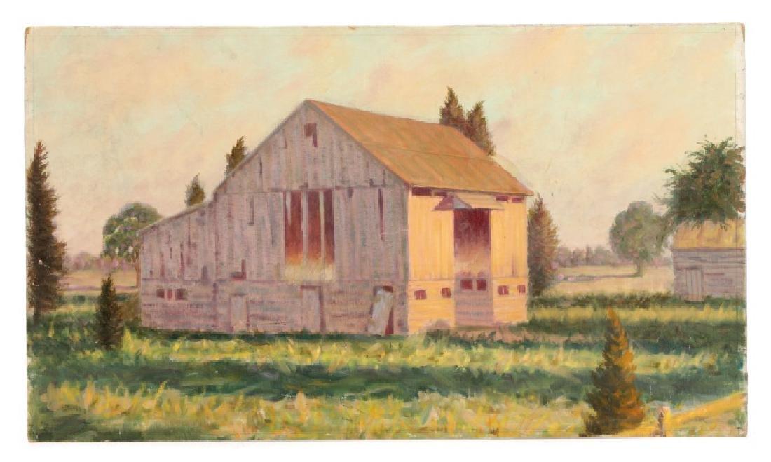 "Henry Rood Jr., ""Barn at Dusk"", Oil on Board"