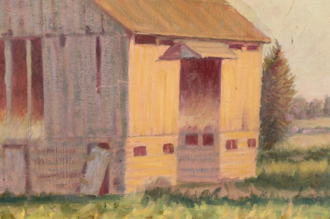 "Henry Rood Jr., ""Barn at Dusk"", Oil on Board - 2"