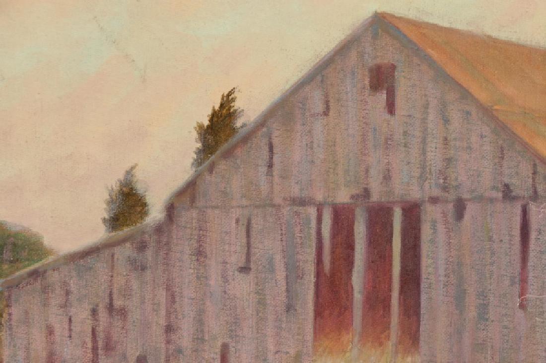 "Henry Rood Jr., ""Barn at Dusk"", Oil on Board - 3"
