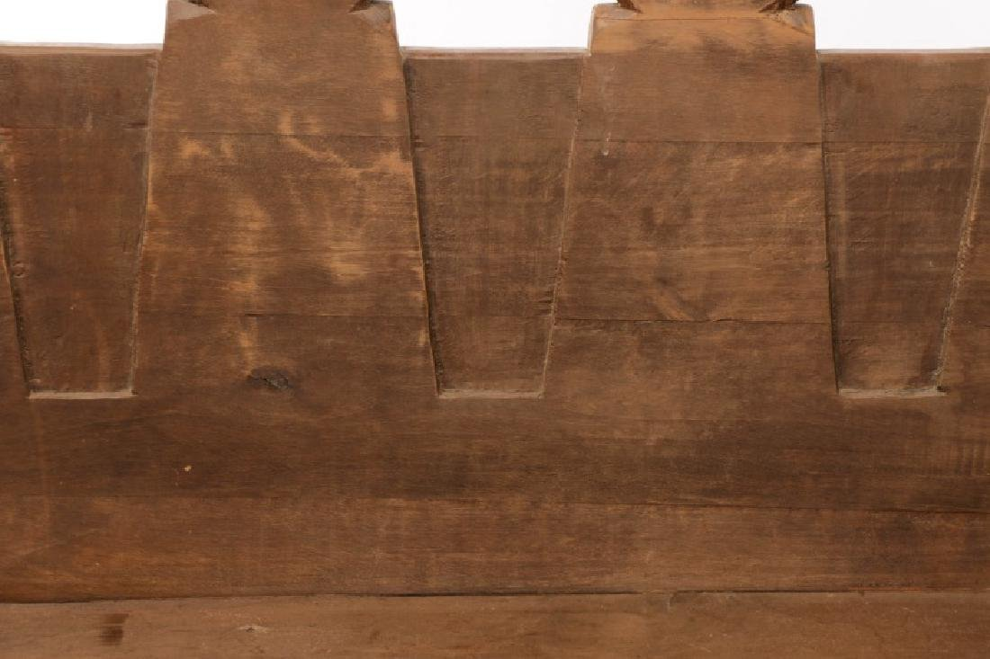 Rustic American Mortise & Tenon Carved Wood Bench - 3