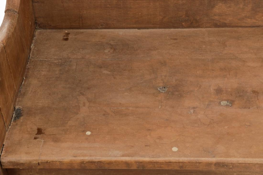Rustic American Mortise & Tenon Carved Wood Bench - 4