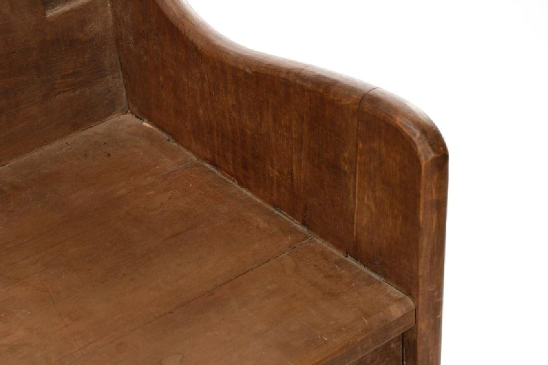 Rustic American Mortise & Tenon Carved Wood Bench - 5