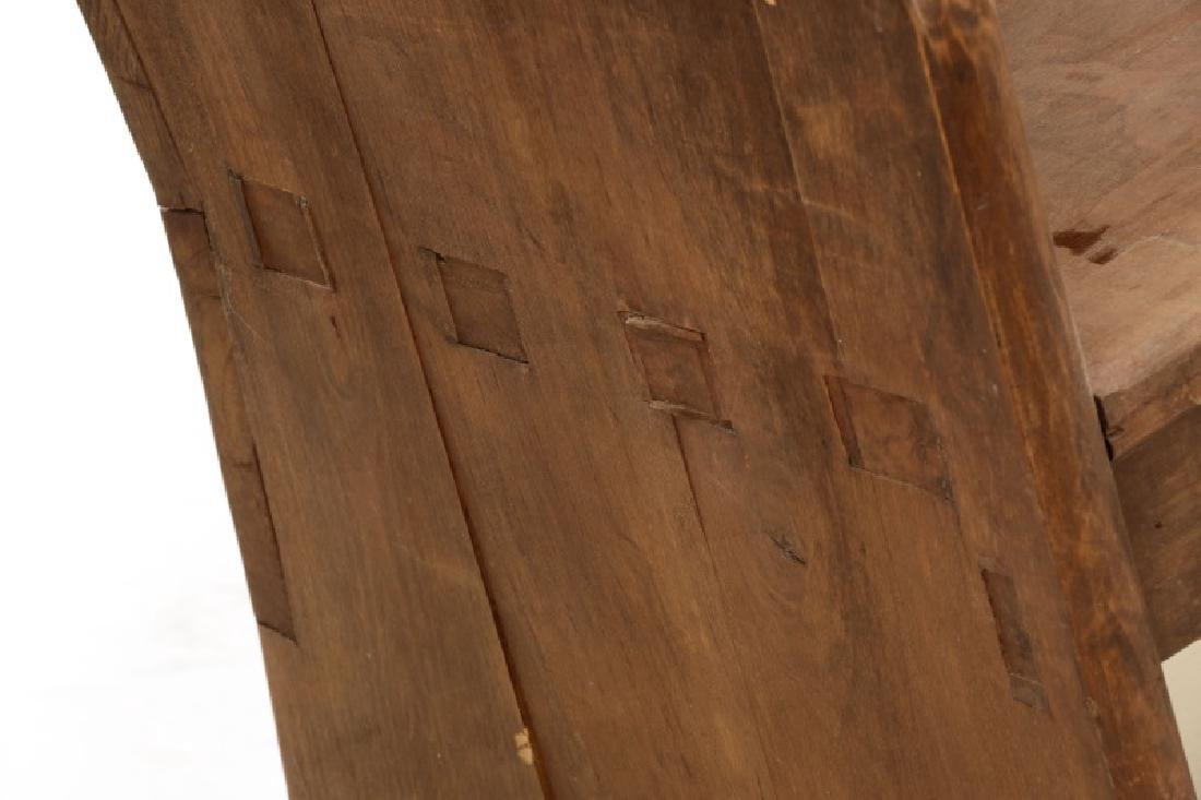 Rustic American Mortise & Tenon Carved Wood Bench - 6
