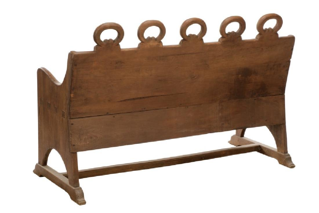 Rustic American Mortise & Tenon Carved Wood Bench - 7