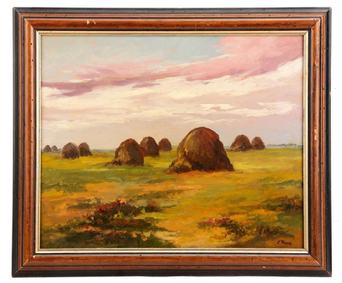 """Iwan Trusz, """"Haystacks"""", Oil on Board"""