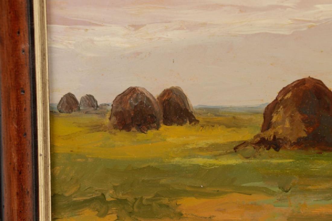 """Iwan Trusz, """"Haystacks"""", Oil on Board - 3"""