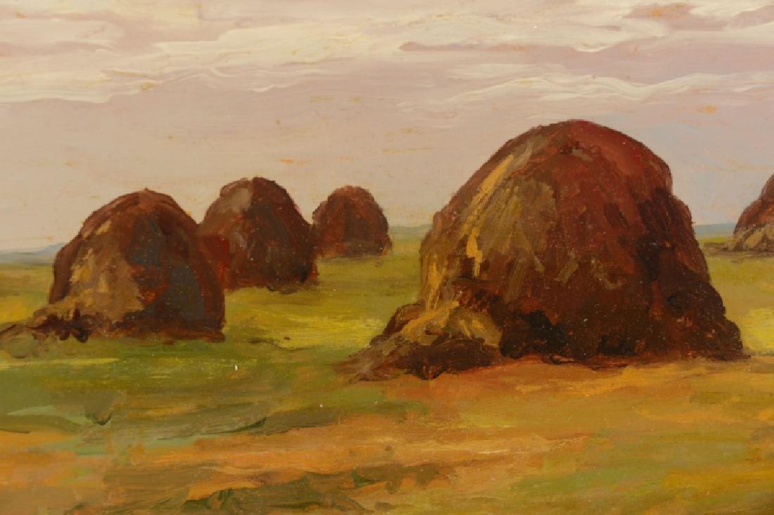 """Iwan Trusz, """"Haystacks"""", Oil on Board - 4"""