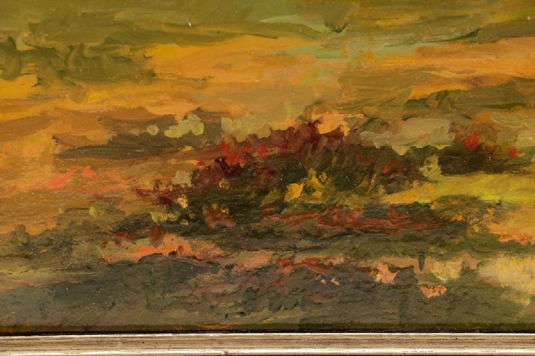 """Iwan Trusz, """"Haystacks"""", Oil on Board - 5"""