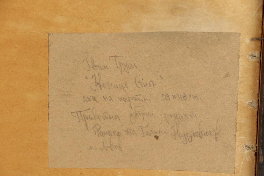 """Iwan Trusz, """"Haystacks"""", Oil on Board - 8"""