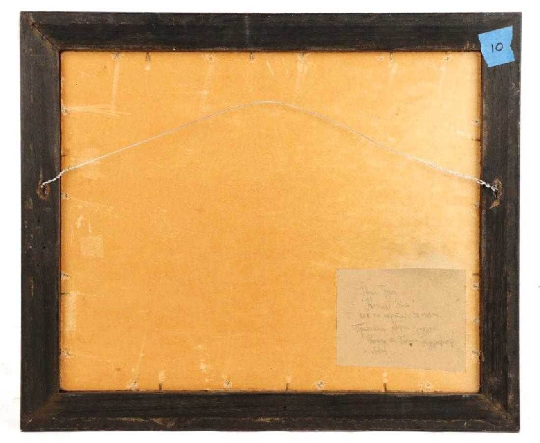 """Iwan Trusz, """"Haystacks"""", Oil on Board - 9"""