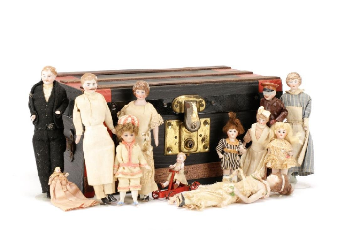 Grouping of Bisque & Porcelain Doll House Dolls